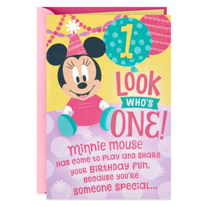 Disney Minnie Mouse Honeycomb Pop Up 1st Birthday Card