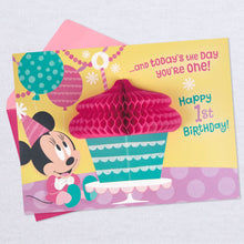 Load image into Gallery viewer, Disney Minnie Mouse Honeycomb Pop Up 1st Birthday Card