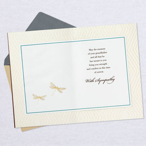 Golden Dragonflies Sympathy Card for Loss of Grandfather