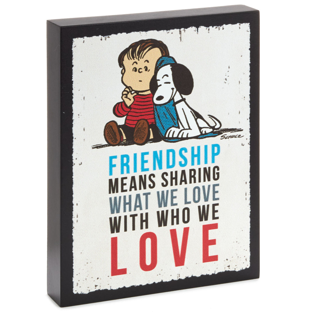 Peanuts® Linus and Snoopy Friendship Wood Quote Sign, 5x6.5