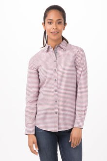 Gingham Female Checkers Long Sleeves Dress Shirt