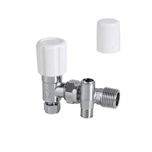 Center Angled Manual Radiator Valve With Drain Off & Lockshield 8mm