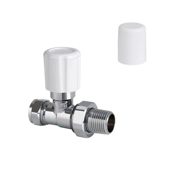 Center Straight Manual Radiator Valve With Drain Off & Lockshield 15mm