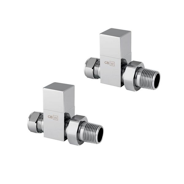 Center Plus Square Top Straight Manual Radiator Valve Twin Pack 15mm