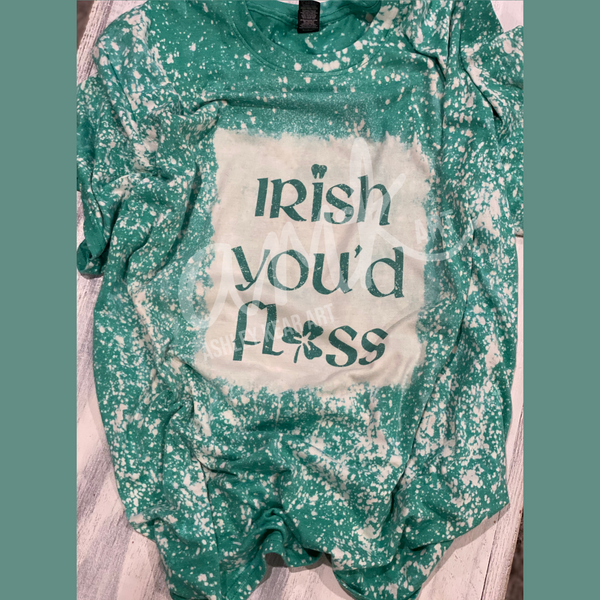 Irish You'd Floss Green Bleached T-Shirt. Design by AMK Art