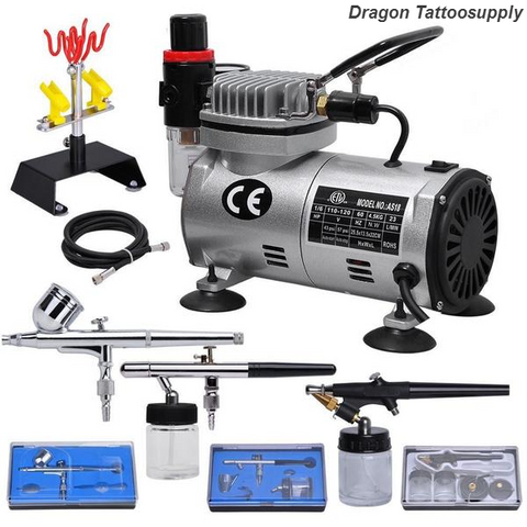 Airbrush / 3 / & Compressor Kit with Dual-Action Spray