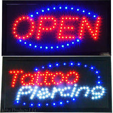 Sign - LED, Neon Piercing, Tattoo, Open