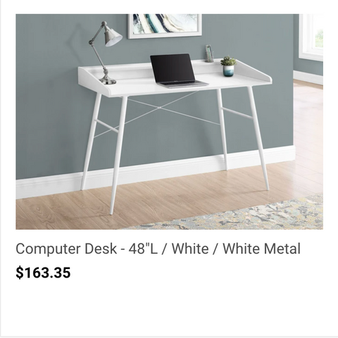 white computer desk with angled legs for kids.