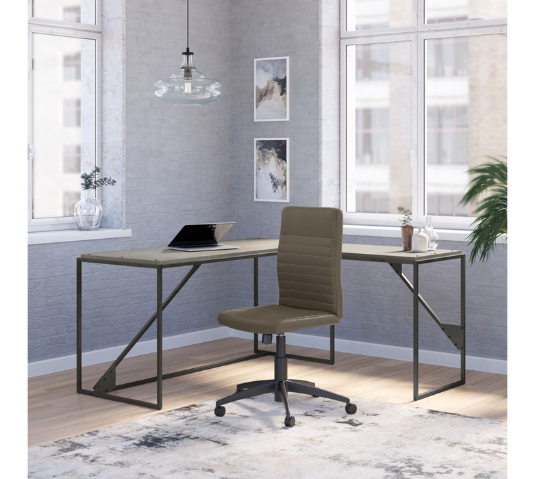 Refinery 62W L Shaped Industrial Desk and Chair Set