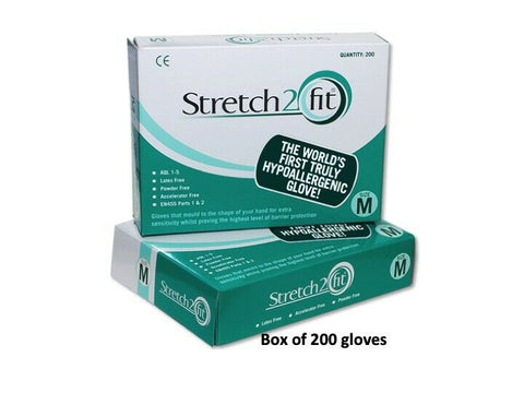 Stretch2Fit - Disposable Gloves - Medical Hypoallergenic - NHS Approved - Sold in cases of 10