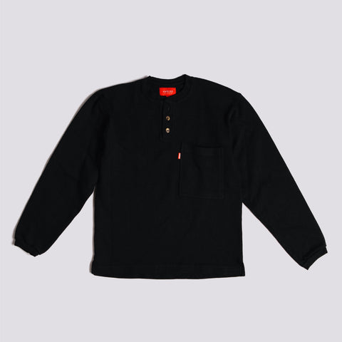 Heavy Three Button Henley - Black