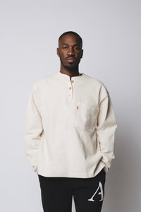 Heavy Three Button Henley - Creme