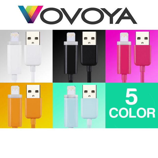 Vovoya Smart LED High-Speed USB Lightning Cable for 8-Pin Apple® Devices - Assorted Colors