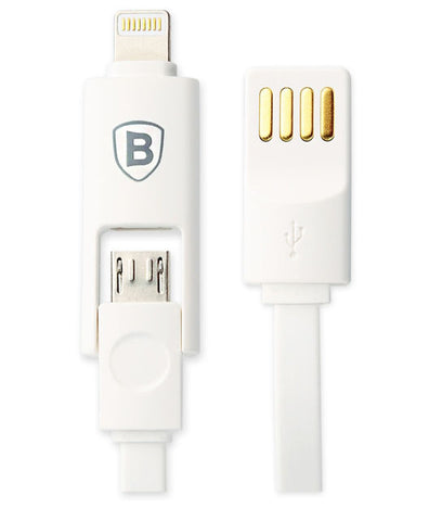 Vovoya Base Series Tangle Free Lightning & Micro USB 2 in 1 Cable 3ft for iPhone & Android Cellphones