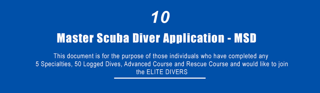 Master Scuba Diver Application