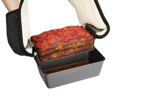 Chicago Metallic Professional Non-Stick 2-Piece Healthy Meatloaf Set, 12.25-Inch-by-5.75-Inch, Grey - X50801