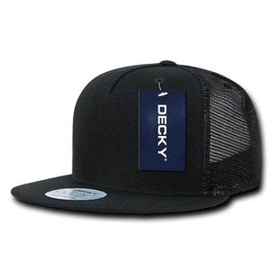 DECKY 5 Panel Flat Bill Trucker Cap Hats Black