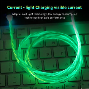 Flowing Light Magnetic USB Charging Cable, Micro usb Cable & USB Type C Cable LED Glow Magnet Charger For iPhone X 8 7 6
