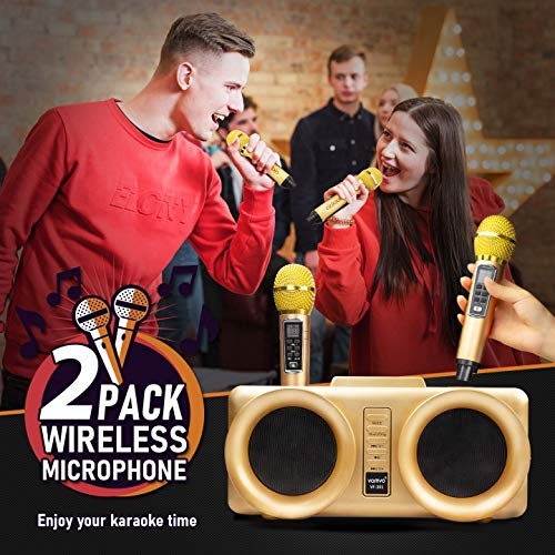 Karaoke Machine, vamvo VF-301 15W2 rechargeable Bluetooth Speaker with 2 Wireless Microphone, Portable PA Speaker System For Kids & Adults
