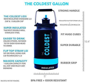 The Coldest Water Bottle One Gallon of Water Insulated Jug with Flip Top Straw Lid - 128 oz Water Bottle (1 Gallon) Black Gallon 1 Gallon (128 oz)