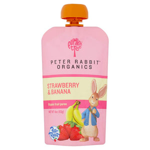Peter Rabbit Organics Strawberry and Banana Pure Fruit Snack, 4 Ounce Squeeze Pouch (Pack of 10) Strawberry & Banana