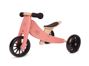 Kinderfeets TinyTot Wooden Balance Bike and Tricycle, Convertible No Pedal Balance Trike for Kids and Push Bike - 2 in 1 Coral