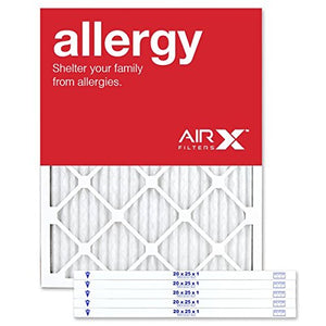 AIRx ALLERGY 20x25x1 MERV 11 Pleated Air Filter - Made in the USA - Box of 6 20 x 25 x 1