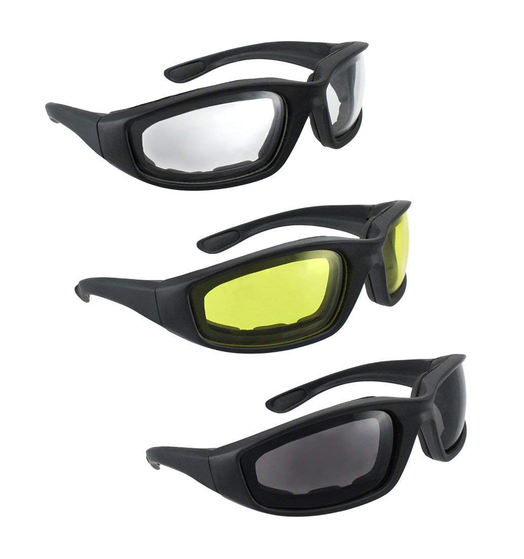 HiSurprise 3 Pair Motorcycle Riding Glasses Smoke Clear Yellow 3 Color