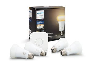 Philips Hue White Ambiance Smart Bulb Starter Kit (4 A19 Bulbs and 1 Hub Works with Alexa Apple HomeKit and Google Assistant) 4 Bulb- Starter Kit Standard