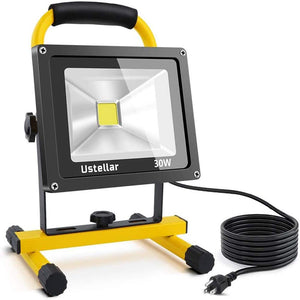 Ustellar 2400LM 30W LED Work Light (200W Equivalent), Waterproof Portable LED Flood Lights, Job Site Lighting with Stand for Construction Site, Workshop, 16ft/5M Cord with Plug, 6000K Daylight White 30.0