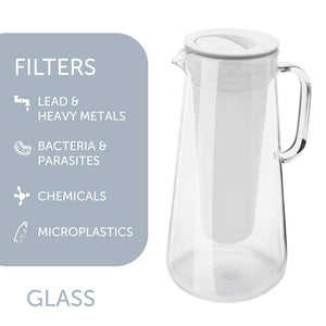 LifeStraw Home Water Filter Pitcher Tested to Protect Against Bacteria, Parasites, Microplastics, Lead, Mercury, and a Variety of Chemicals Glass Pitcher 7c White