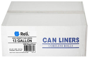 Reli. 13 Gallon Trash Bags (1000 Count Bulk) Clear Trash Bags 13 Gallon in Bulk - Recycling Clear Can Liners 13 Gallon - 16 Gallon Tall Kitchen (13 Gal)