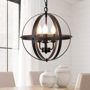 DLLT Vintage Pendant Hanging Light, Flush Mount Ceiling Chandelier Lamp with Metal Spherical Shade for Kitchen, Dining Room, Living Room, Hallway, Bedroom, Entryway 3-Light, E12 Base-Matte Black 3 lights-Black