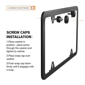 Karoad 2 Holes Slim Design Black Aluminum License Plate Frames with Bolts Washer Caps for US Standard (Two PCS)