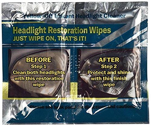 Yellow Off Headlight Cleaner 655315010284 Yellow-Off Instant Headlight Cleaner Wipes, 1 Pack