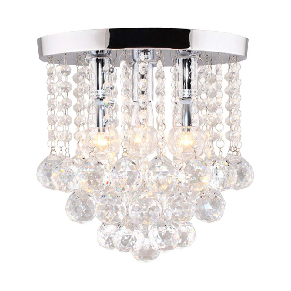 "Surpars House Crystal Chandelier,3 Lights,11"" W, 10"" H,Silver"