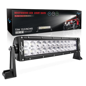MICTUNING 13.5 Inch 72W Combo Led Light Bar - 5000 Lumen,  6000-6200K Crystal White, Waterproof for Off-road Jeep ATV UTV SUV Truck Boat
