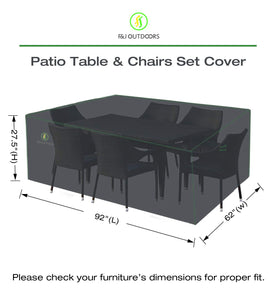 "Patio Table and Chairs Furniture Set Cover, 92 x 62 Inches, Heavy Duty Waterproof UV Resistant for Rectangular/Oval 7-Piece/9-Piece Outdoor Dining Set, Grey 92""L x 62""W x 27.5""H"
