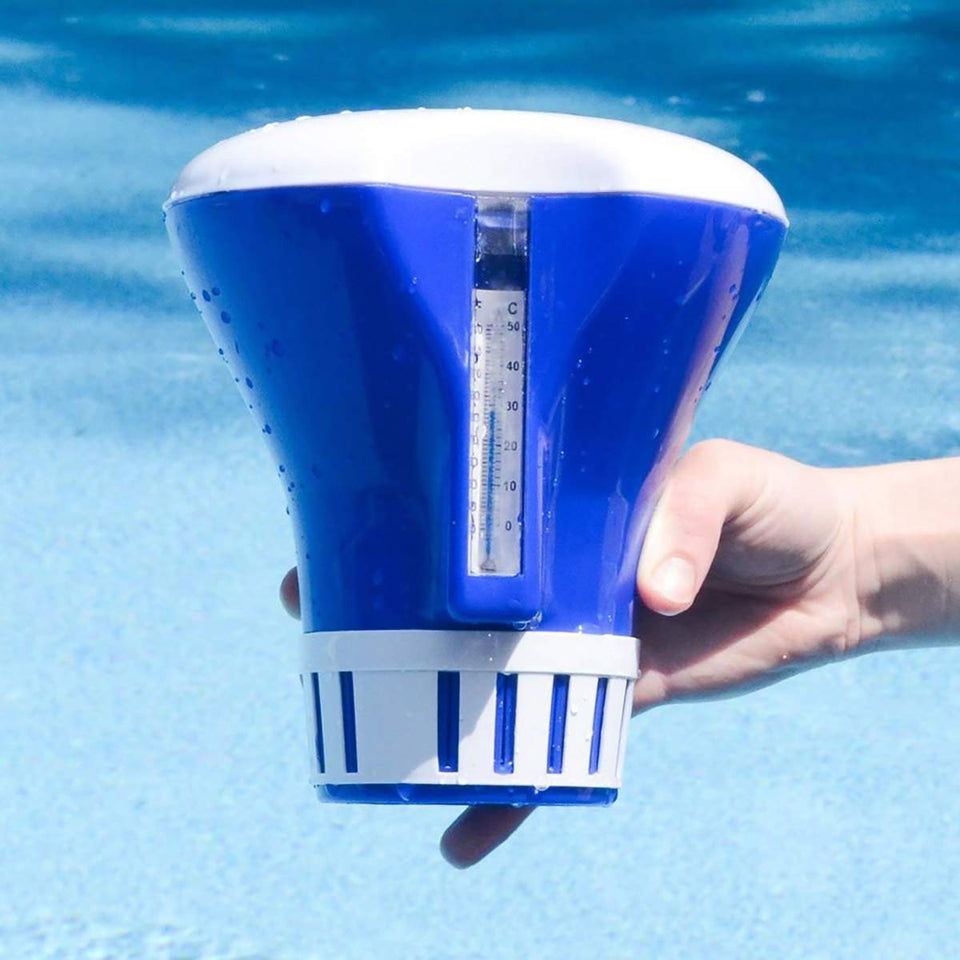 ATIE Pool Spa Chlorine Tablet Dispenser Floater with Built-in Thermometer with F/C Display