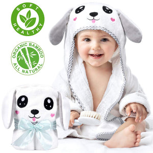 Kaome Large Size Baby Hooded Towel, Organic Bamboo Baby Towel for Toddler 0-5 Years Old, Super Soft and Absorbent for Baby Shower, Machine Washable, 35 x 35 in