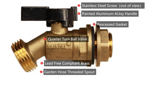 RAINPAL RBS005 Brass Water Container/Rain Barrel Quarter Turn Spigot(Lead Free Compliant)