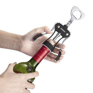 Wine Opener, Zinc Alloy Premium Wing Corkscrew Wine Bottle Opener with Multifunctional Bottles Opener, Upgrade - Black