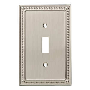 Franklin Brass W35058-SN-C Classic Beaded Single Switch Wall Plate/Switch Plate/Cover, Satin Nickel