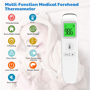 Forehead Thermometers Non Contact, Infrared Digital Thermometer for Kids, Fever Alarm 35 Groups Memory Recall 1 Second Reading Thermal Thermometer for Infant, Baby, Adults