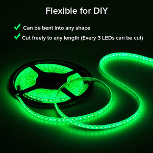 FAVOLCANO LED Strip Light Green IP65 Waterproof 12V DC SMD 3528 600 LEDs 120Leds/M 16.4 ft/5M Flexible LED Tape for Home Kitchen Bedroom Decoration (Adapters or Connector NOT Included) 3528 Waterproof 600 Leds