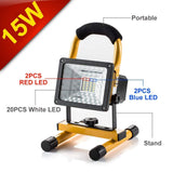[15W 24LED] Spotlights Work Lights Outdoor Camping Lights, Built-in Rechargeable Lithium Batteries (With USB Ports to charge Mobile Devices) Yellow