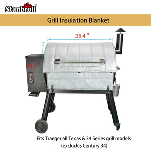 Stanbroil BBQ Grill Replacement Thermal Insulation Blanket for Traeger 34 Series Grills and Traeger Pro 780