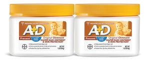 A+D Original Diaper Rash Ointment, Baby Diaper Rash Cream and Skin Protectant with Lanolin, 1 lb Jar (Pack of 2)