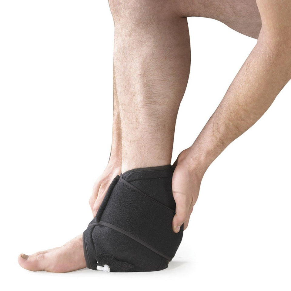 O2 Ice Cold Therapy Reusable Ankle / Foot Support Brace, with Air Pump - Provides Ankle / Foot Compression - Increases Cold and Reduces Inflammation and Swelling