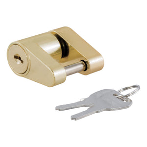 CURT 23022 Brass-Plated Steel Trailer Tongue Coupler Lock, 1/4-Inch Pin Diameter, Up to 3/4-Inch Span
